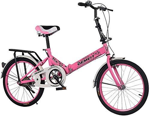 Wangwang454 Folding Bike 20 inch Folding Bike Folding Bike Folded Folding Bike Made of Carbon Steel Light And Robust (Blue)-Pink