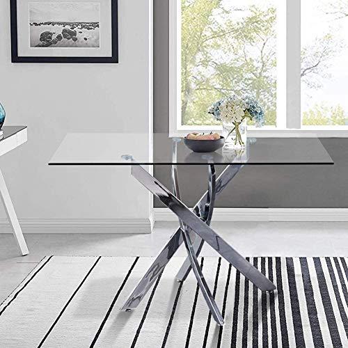 GOLDFAN Table de Salle à Manger en Verre Moderne Table à Manger Cuisine Rectangulaire Table avec Pieds Chromés pour Salon Bureau etc 110 x 70 x 75cm