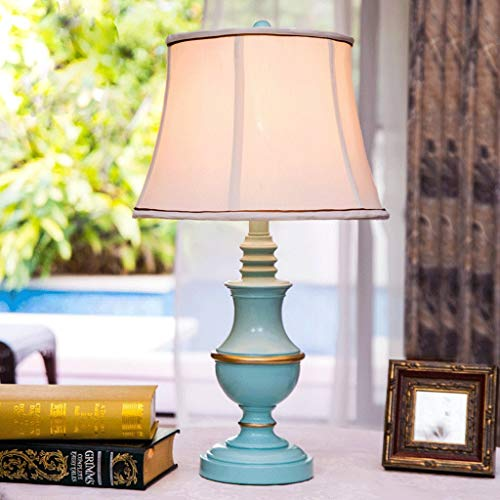 Gymqian Reading Desk Lamp, Student Dormitory Table Lamp-European Mediterranean Garden Living Room Table Lamp Bedroom Bedside Lamp Creative Fashion Blue White Lamp Shade Read