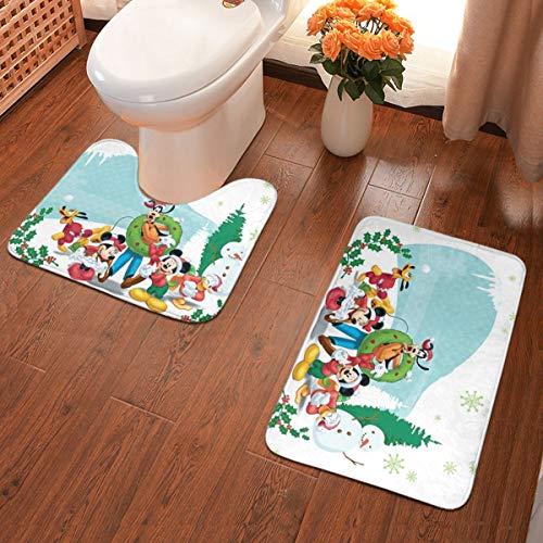 Christmas Mickey Mouse Bathroom Rugs Anti-Slip Pad Thick Soft Super Water Absorption,Bath Mat+U-Shaped Mat Pieces Set Perfect Bathroom Antiskid Carpet
