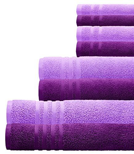 Lashuma 8er Handtuchset, 4 Baumwollhandtuch Größen, Robuste Lila Frotteetücher, Handtuch Kombi: Flieder - Aubergine