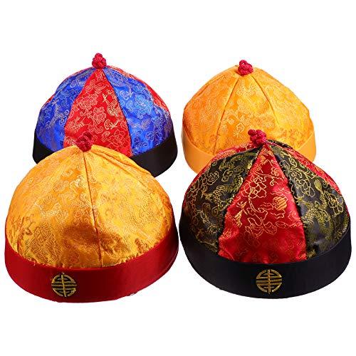 Amosfun 4 Peças de Chapéu Traje de Imperador Chinês Com Trança Tradicional Chapéu de Mandarim Novidade Chapéu de Festa Samurai Acessórios de Vestuário para Adultos