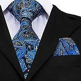 Corbata Tie Corbata Grande de Moda para Hombre de 160 cm de Largo, Corbatas de Seda Paisley Azul a la Moda para Hombres, Conjunto de Gemelos de pañuelo más Populares, Corbatas GP