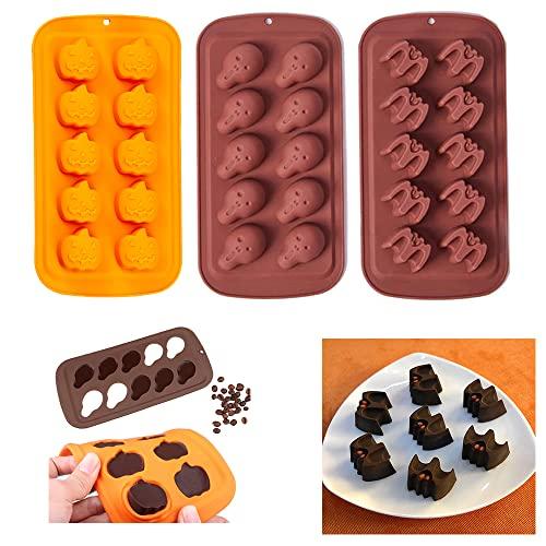 YingBiao Halloween Chocolate Silicona Fondant Moldes Calavera Murciélago Calabaza Dulces Galletas Jabón Postre Molde para Hornear para Pastel Decoración de Magdalenas Sugarcraft Paquete de 3
