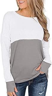 Women's Color Block Tops Crew Neck Casual Basic Cotton Long Sleeve T-Shirt - Soft, Lightweight, Tops