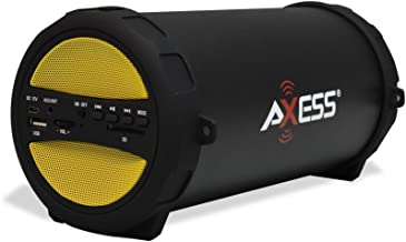 AXESS SPBT1041 Portable Thunder Sonic Bluetooth Cylinder Loud Speaker with Built-In FM Radio, SD Card, USB, AUX Inputs in Yellow
