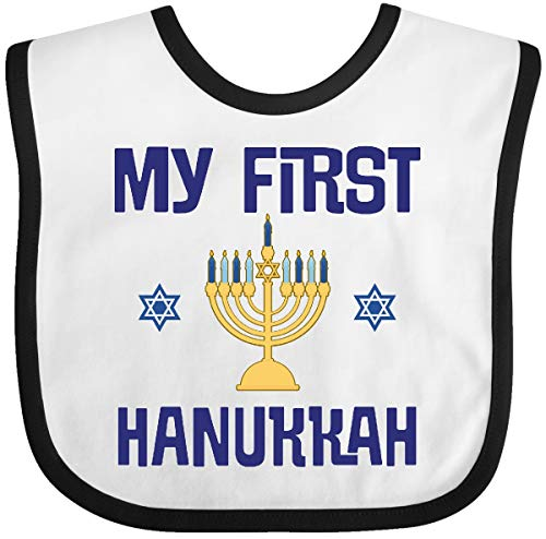 Inktastic My First Hanukkah Celebration Outfit Baby Bib White and Black 3c816