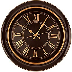 Bernhard Products Large Wall Clock 18 Quality Quartz Silent Non Ticking, Battery Operated for Home/Living Room/Over Fireplace, Beautiful Decorative Timeless Stylish Clock, Mahogany Brown & Copper
