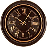 Bernhard Products Large Wall Clock 18' Quality Quartz Silent Non Ticking, Battery Operated for Home/Living Room/Over Fireplace, Beautiful Decorative Timeless Stylish Clock, Mahogany Brown & Copper