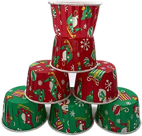 マフィンカップ 100枚 ケーキカップ 耐熱カップ おかずカップ ベーキングカップ 紙製 使い捨て ケーキ型 おしゃれ DIY 製菓用品 (50枚グリーン+50枚レッド(セットB))
