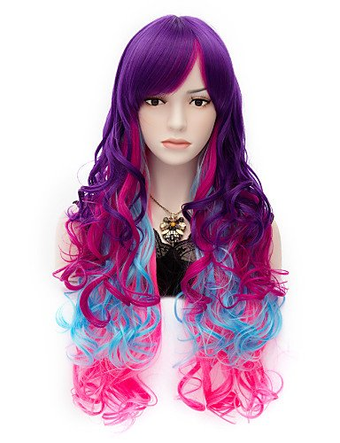 Simple and convenient Perruques cheveux européen mode Mon Petit Arc-en-ciel cheveux longs Perruques Vogue Bouclé Cosplay Perruque Parti