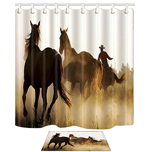 NYMB Western Animals Shower Curtains, Cowboy Riding Horse Runing, 69X70in Polyester Fabric American Country Farmhouse Shower Curtain Set with 15.7x23.6in Flannel Non-Slip Floor Doormat Bath Rugs