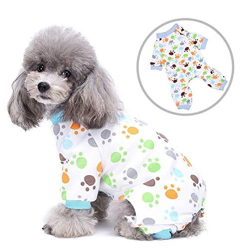 Zunea Schlafanzug für kleine Hunde, Katzen, Welpen, Schlafanzug, vier Beine, Haustier-Pyjama, Jumpsuit, entzückende Pfotenabdrücke, Schlafkleidung, Chihuahua, Kleidung XS