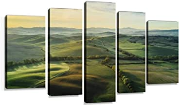 Tuscany landscape at sunrise with low fog Modern Art Painting set Digital Print Picture on Canvas Framed Artwork Wall Decor Living Room Office Bedroom 5 Pieces
