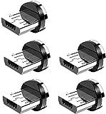 CAFELE Adaptador magnético Micro USB [5 unidades], Andriod protección contra el polvo conector para puerto de carga, conector USB micro magnético para cable de carga magnético