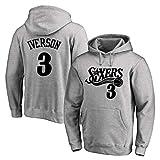 XGMJ Allen Iverson - Sudadera con capucha para hombre, diseño de Philadelphia 76ers # 3 con capucha, manga larga, otoño, cómodo, color gris y XL