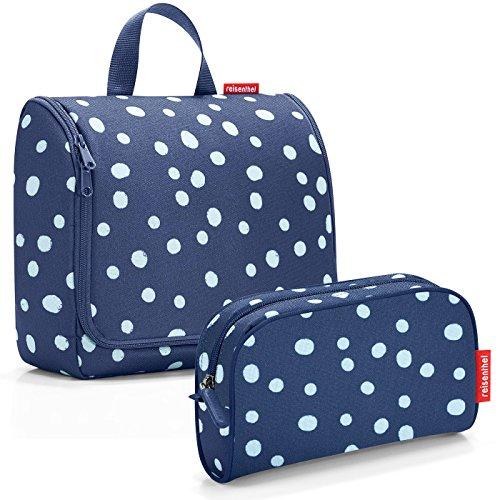 reisenthel Exklusiv-Set: toiletbag XL 28x25x10cm große Kulturtasche zum aufhängen aufklappbar + GRATIS makeupcase (Spots Navy blau)
