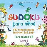 Sudoku para niños: 320 rompecabezas Sudoku fácil 4x4, 6x6, 9x9 con soluciones para niños edades 4-8. Mejore las habilidades lógicas de sus hijos. (Libro 8)