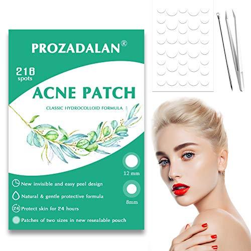 Cerotti invisibili per acne, 216 pezzi, con idrocolloide, trattamento con patch assorbente per viso, efficace assorbimento delle secrezioni, 8 mm e 12 mm (DL1)