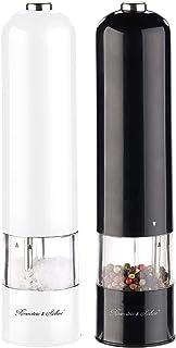 Rosenstein & Söhne Elektrischer Salzstreuer: 2er-Set elektr. Salz- & Pfeffermühle, Keramik-Mahlwerk, Licht, 22,5 cm Gewürzmühle elektrisch