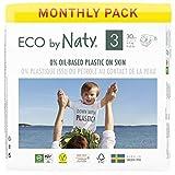 Eco by Naty Pañales, Talla/Tamaño 3, 180 unidades, 4-9 kg, suministro para UN MES, Pañal ecológico Premium hecho a base de fibras vegetales. 0% plásticos derivados del petróleo en contacto con la piel