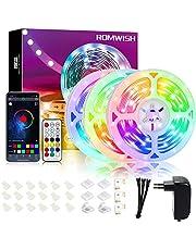 Dreamcolour Ledstrip, RGBIC met afstandsbediening en app, bluetooth, zelfklevende ledstrip, dimbaar, kleur chasing, kleurverandering, Music Sync, flexibele snijbare ledstrip voor slaapkamer, feest