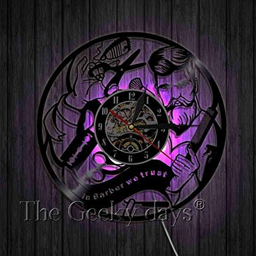 TIANZly Salon de Coiffure Coiffeur Coupe de Cheveux Disque Vinyle CD Horloge Murale Quartz Salon de Coiffure Horloge