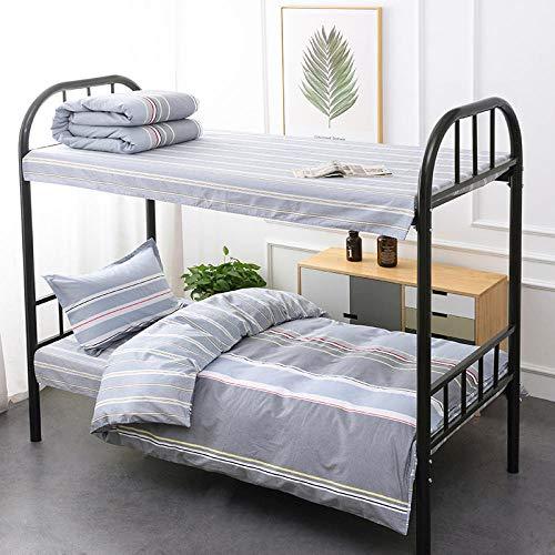 Chuanglanja 4-delige beddengoedset voor studenten, comfortabel en ademend, van puur katoen, voor bedden van 0,9-1,35 m, grijs gestreept