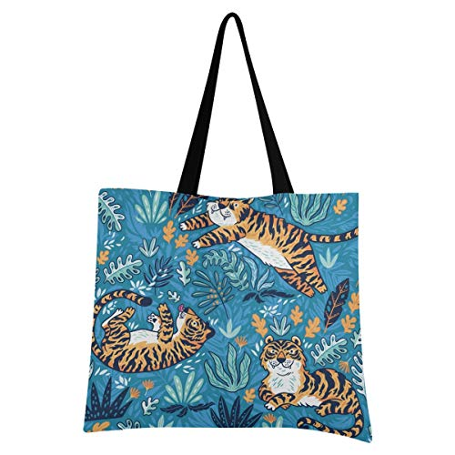 XIXIXIKO - Bolsa ligera de lona para la playa, con diseño de animales de dibujos animados y hojas de tigre, para mujeres, niñas, compras, gimnasio, playa, viajes diarios