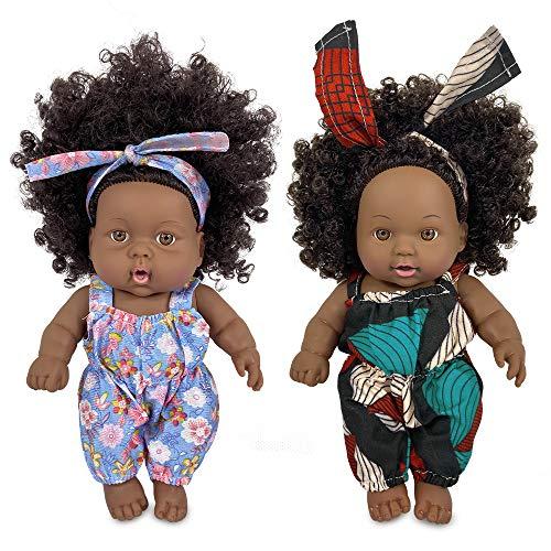Poupée Afro-américaine réalistes 8 Pouces bébé poupées pour Enfants Jouets pour Enfants (2PCS)