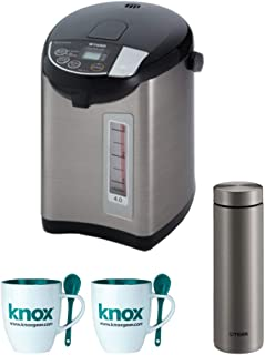 Tiger PDU-A40U-K Electric Water Boiler and Warmer, Stainless Black, 4.0-Liter Includes Travel Mug and 2 Mugs