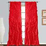 Rooney Sheer Voile Vertical Ruffled Window Curtain Panel (Red, 2 Panels 50' x 84')
