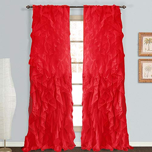 "DiamondHome 1pc Cascade Shabby Chic Sheer Ruffled Curtain Panel (Red, 50"" X 63"")"
