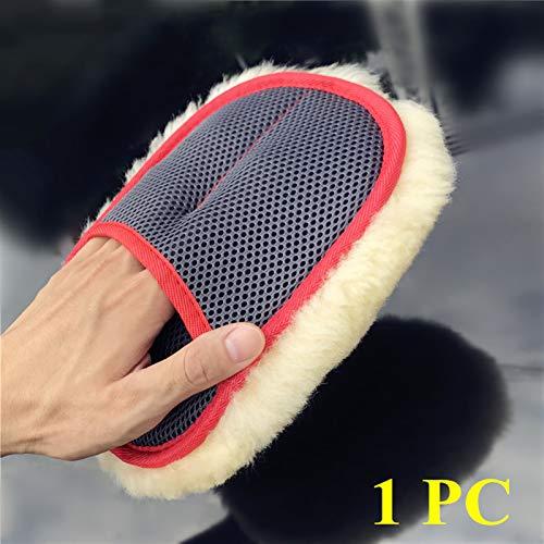 Decorel Super mjuk andningsförmåga mesh paws 100% fårskinn bil tvätt rengöring polering handskar lyx lammullmitt (Color : 1 PC Yellow Mitt)