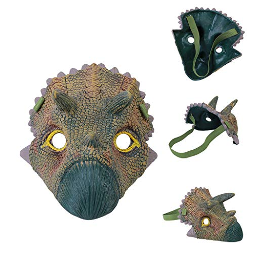 BEECM Head Mask Non-toxic Cosplay Dinosaur Face Overhead Latex Costume Prop Scary Mask Toy for Adults and Kids