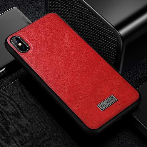 KIOKIOIPO-N Mode Stoß- TPU + handgemachte Ledertasche for iPhone XS Max (Color : Rot)