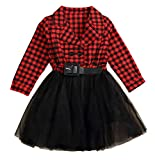 Little Kids Baby Girl Dresses Red Plaid Tutu Skirt Party Princess Formal Outfit Clothes (Red # a, 4-5 Years)