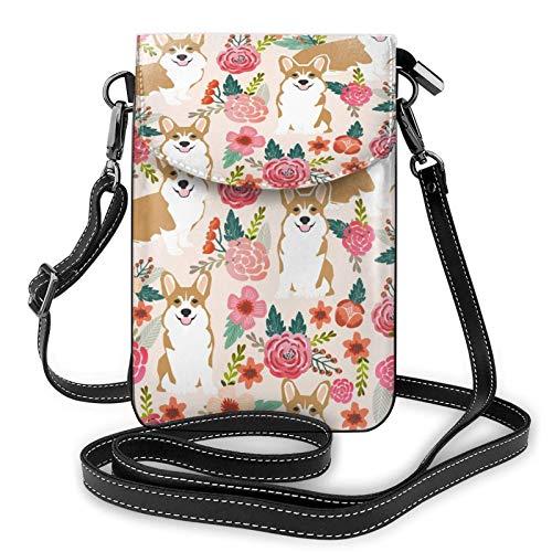 Corgi - Bolso de mano para teléfono móvil, diseño floral