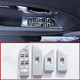 WDGXZM 4 unids/Set Plata ABS Interior Ventana botón Marco Cubierta embellecedor Pegatina Accesorios de Coche,para Land Rover Range Rover Evoque 2011-2017
