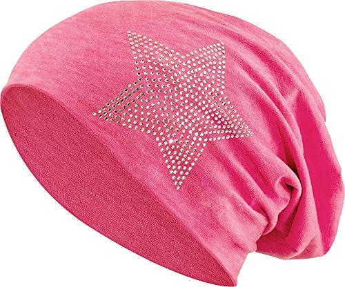 Jersey Baumwolle elastisches Long Slouch Beanie Unisex Herren Damen mit Strass Stern Steinen Mütze Heather in 35 (2) (Heather Red)