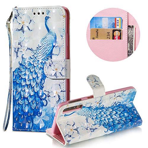 Gurt Brieftasche für Samsung Galaxy A7 2018,Wallet Leder Handyhülle für Samsung Galaxy A7 2018,Moiky Stilvoll 3D Blau Pfau Muster Geprägt Klappbar Stand Handytasche