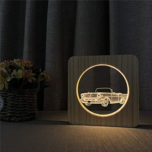 Solo 1 pieza coche clásico 3D LED acrílico luz de noche de madera decoración de habitación para niños lámpara de mesa interruptor de control lámpara de grabado