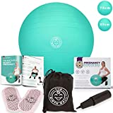 The Birth Ball - Birthing Ball for Pregnancy & Labor - 18 Page Pregnancy Ball Exercises Guide by Trimester - Non Slip Socks - How to Dilate, Induce, & Reposition Baby for Mom 75 cm