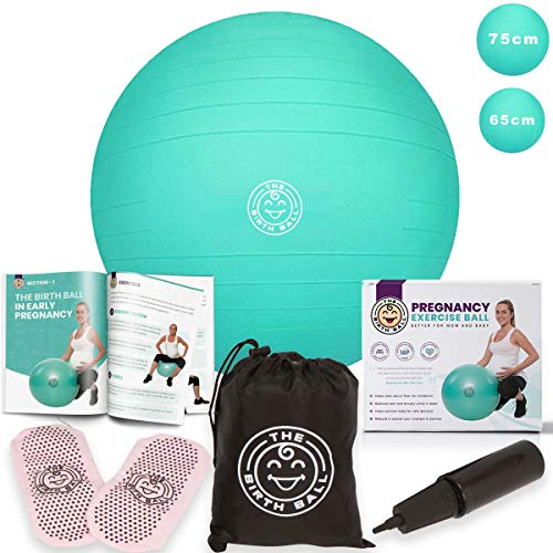 The Birth Ball - Birthing Ball for Pregnancy & Labor - 18 Page Pregnancy Ball Exercises Guide by Trimester - Non Slip Socks - How to Dilate, Induce, & Reposition Baby for Mom 65cm