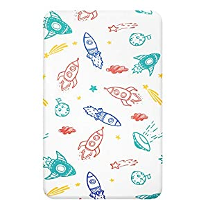 TILLYOU Stretch Micro Fleece Plush Fitted Mattress Sheet for Mini Portable Crib, Pack N Play, Playard Playpen, Hypoallergenic Soft Crib Sheet, Anti-Pilling Velvet and Warm, Outer Space