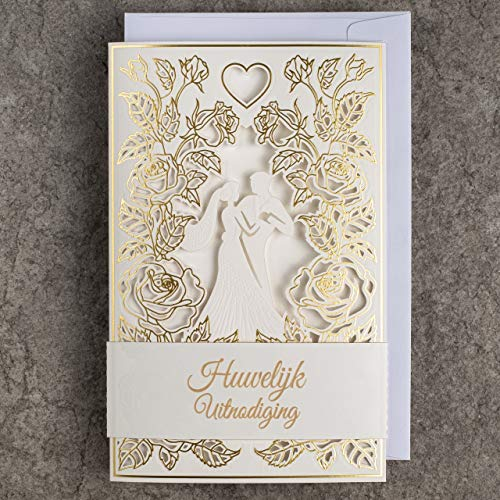 WITH PRINTABLE INNERS AND ENVELOPES FOR WEDDING 135x135mm GOLD FOILED DESIGN ON WATERCOLOR PAPER ART NUVO WEDDING INVITATIONS CARDS 20pcs