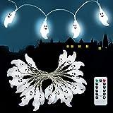 Halloween Lichterkette, 3M 30 LEDs Geist Licht, Wasserdicht LED Geister Lichterkette mit Fernbedienung 8 Modi, Batteriebetriebene Halloween Party Garten Dekorationen für Außen & Innen (Weiß)