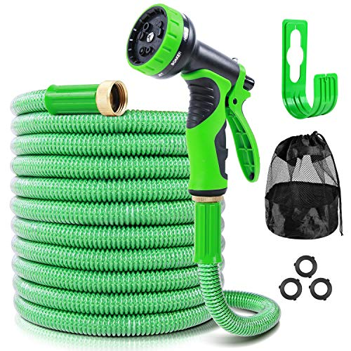 Ohuhu Garden Hose 100 FT with 9 Function Spray Nozzle, 2021 New Expandable Water Hose 3-Layer Leakproof Flexible Hoses with Brass Connector, Lightweight No-Kink Yard RV Hose with Holder & Storage Bag