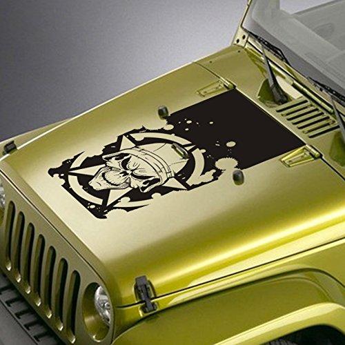 Hood Decal Fits Jeep Wrangler TJ YJ JK - Army Star Soldier Skull Blackout Sticker - Matte Black
