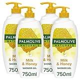Palmolive Naturals Milk & Honey Duschgel Pump 750 ml 4er Pack, Dermatologisch getestete Duschgel,...